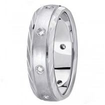 Men's Burnish-Set Diamond Wedding Band in 14k White Gold (0.4 ctw)