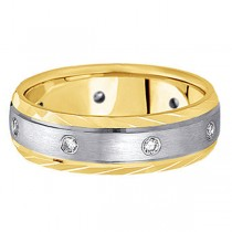 Men's Burnish-Set Diamond Wedding Band in Two Tone 18k Gold (0.4 ctw)