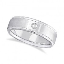 Mens Diamond Solitaire Wedding Ring Band 14k White Gold (0.10ct)