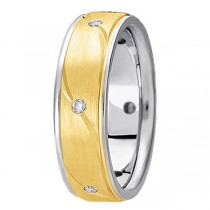 Men's Burnished Diamond Wedding Ring in Two Tone 14k Gold (0.18 ctw)