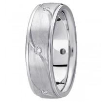 Men's Burnished Diamond Wedding Ring in 14k White Gold (0.18 ctw)