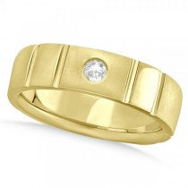 Men's Diamond Solitaire Wedding Ring Band 14k Yellow Gold 7mm (0.12ct)