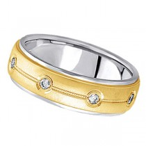 Diamond Wedding Ring in Two Tone 14k Gold for Men (0.40 ctw)