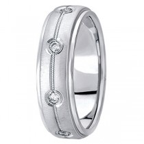 Diamond Wedding Ring in 14k White Gold for Men (0.40 ctw)