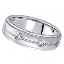 Diamond Wedding Ring in 18k White Gold for Men (0.40 ctw)