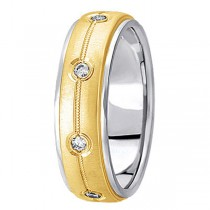 Diamond Wedding Ring in Two Tone 18k Gold for Men (0.40 ctw)