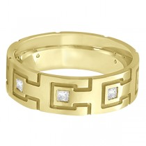 Princess Cut Eternity Diamond Ring for Men 14k Yellow Gold (0.50ct)