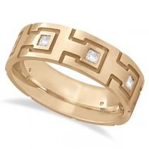 Princess Cut Eternity Diamond Ring for Men 18k Rose Gold (0.50ct)