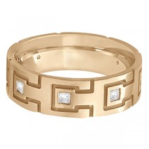 Princess Cut Eternity Diamond Ring for Men 18k Rose Gold (0.50ct)