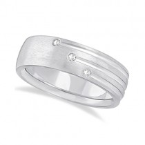 Mens Shooting Star Diamond Wedding Ring Band 14k White Gold (0.15ct)