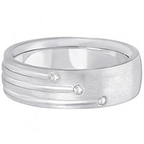 Mens Shooting Star Diamond Wedding Ring Band 14k White Gold (0.15ct)|escape