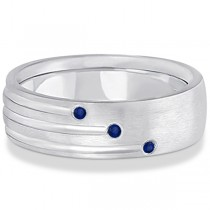 Mens Shooting Star Blue Sapphire Wedding Ring Band 14k White Gold (0.15ct)
