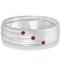 Mens Shooting Star Ruby Wedding Ring Band 14k White Gold (0.15ct)