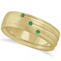 Mens Shooting Star Emerald Wedding Ring Band 14k Yellow Gold (0.15ct)