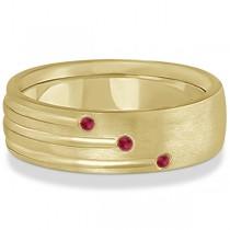 Mens Shooting Star Ruby Wedding Ring Band 14k Yellow Gold (0.15ct)