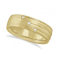 Mens Shooting Star Diamond Wedding Ring Band 18k Yellow Gold (0.15ct)