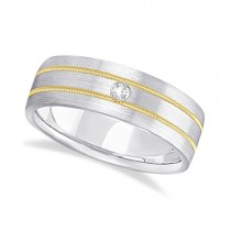 Mens Milgrain Engraved Diamond Wedding Band Ring 14k Two-Tone (0.05ct)