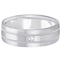 Mens Milgrain Engraved Diamond Wedding Band Ring 14k White Gold (0.05ct)