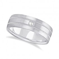 Mens Milgrain Engraved Diamond Wedding Band Ring 18k White Gold (0.05ct)