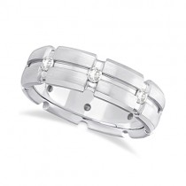 Mens Burnish Diamond Wedding Ring Groove Band 14k White Gold (0.50ct)