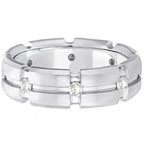 Mens Burnish Diamond Wedding Ring Groove Band 14k White Gold (0.50ct)|escape
