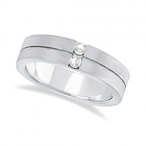 Mens Two-Stone Diamond Wedding Ring Band 14k White Gold (0.15ct)