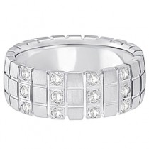Mens Square Groove Diamond Wedding Ring Band 14k White Gold (0.25ct)