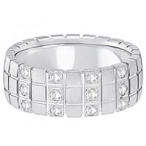 Mens Square Groove Diamond Wedding Ring Band 18k White Gold (0.25ct)
