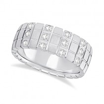 Mens Square Groove Diamond Wedding Ring Band Palladium (0.25ct)