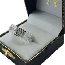 Pave-Set Diamond Wedding Band in 14k White Gold for Men (0.40 ctw)