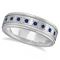 Blue Sapphire Ring for Men Wedding Band 18k White Gold (0.80ctw)