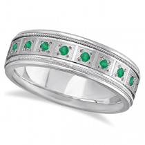 Emerald Ring for Men Wedding Band 18k White Gold (0.80ctw)
