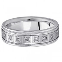 Pave-Set Diamond Wedding Band in Platinum for Men (0.40 ctw)