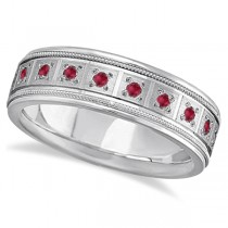 Ruby Ring for Men Wedding Band 14k White Gold (0.80ctw)
