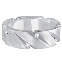 Mens Pointed Groove Diamond Wedding Ring Band 18k White Gold (0.50ct)|escape
