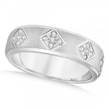Wide Band Unisex Diamond Wedding Ring Band 14k White Gold 7mm (0.60ct)