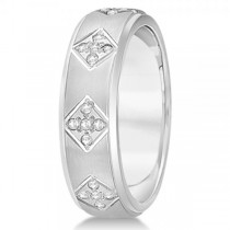 Wide Band Unisex Diamond Wedding Ring Band 14k White Gold 7mm (0.60ct)