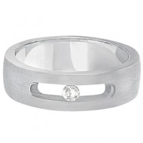 Solitaire Diamond Wedding Ring For Men 14kt White Gold (0.10ct)