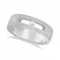 Diamond Solitaire Wedding Band For Men 18k White Gold (0.10ct)