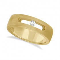 Diamond Solitaire Wedding Band For Men 18k Yellow Gold (0.10ct)