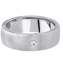 Men's Diamond Wedding Band in 14k White Gold (0.34 ctw)