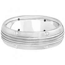 Mens Double Milgrain Diamond Wedding Ring Band 14kt White Gold (0.25ct)