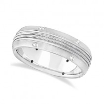 Mens Double Milgrain Diamond Wedding Ring Band 18kt White Gold (0.25ct)