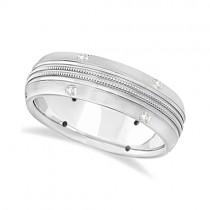 Mens Double Milgrain Diamond Wedding Ring Band Palladium (0.25ct)