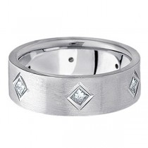 Princess Cut Diamond Wedding Band in 14k White Gold (0.60 ctw)