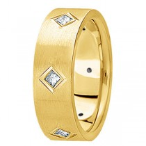 Princess Cut Diamond Wedding Band in 14k Yellow Gold (0.60 ctw)