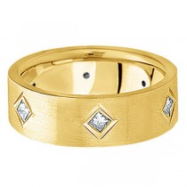 Princess Cut Diamond Wedding Band in 18k Yellow Gold (0.60 ctw)