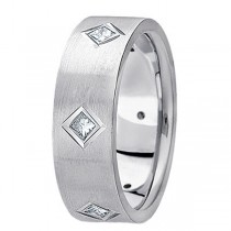 Princess Cut Diamond Wedding Band in Platinum (0.60 ctw)