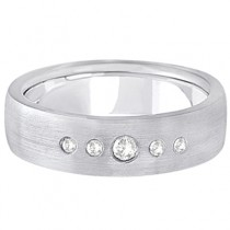 Mens Five-Stone Diamond Wedding Band 14k White Gold (0.25ct)