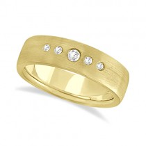 Mens Five-Stone Diamond Wedding Band 14k Yellow Gold (0.25ct)